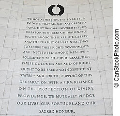Declaration of Independence - Inscription on the southwest...