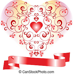 Declaration of love - Heart on a background with flowers...