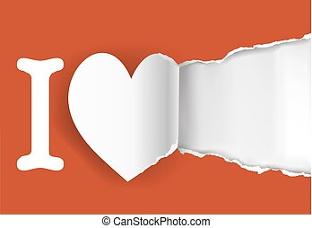Declaration of love template - Cut out a heart shape with...