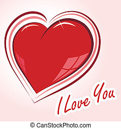 declaration of love - vector illustration of glossy heart