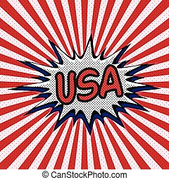 Declaration of USA pop art, Comic Speech Bubble. USA