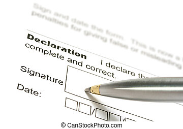 Declaration - Pen poised to sign a declaration. Classic...