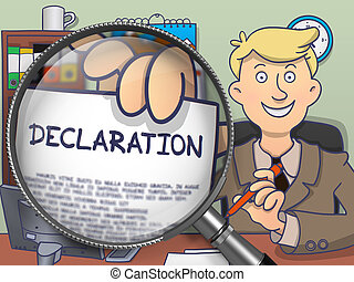 Declaration through Magnifying Glass. Doodle Style.