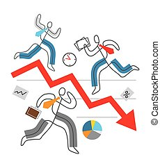 Decline arrow down, financial crisis concept, chaos in Business.