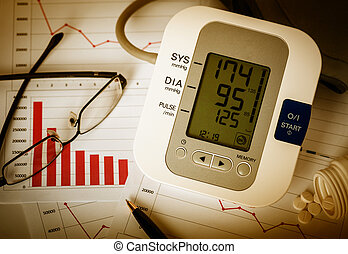 Decline charts and high blood pressure. - Working late at...