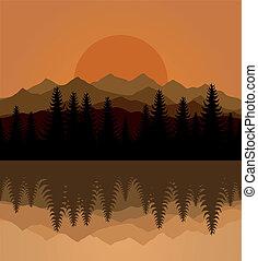 Decline - Sunset on mountain lake. A vector illustration