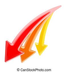 decline:, flèches, trois, isolé, bas, déclinant