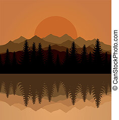 Decline - Sunset on mountain lake. A vector illustration