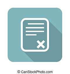 Declined document square icon