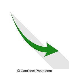 Declining arrow sign. Green icon with flat style shadow path.