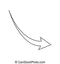 Declining arrow sign. Vector. Black dashed icon on white background. Isolated.