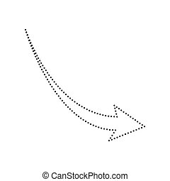 Declining arrow sign. Vector. Black dotted icon on white background. Isolated.