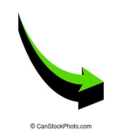 Declining arrow sign. Vector. Green 3d icon with black side on white