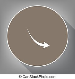 Declining arrow sign. Vector. White icon on brown circle with white contour and long shadow at gray background. Like top view on postament.