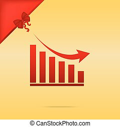 Declining graph sign. Cristmas design red icon on gold background.