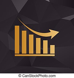 Declining graph sign. Golden style on background with polygons.