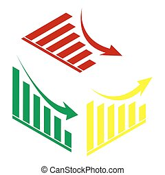 Declining graph sign. Isometric style of red, green and yellow icon.