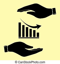 Save or protect symbol by hands. - Declining graph sign....