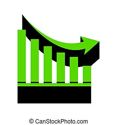 Declining graph sign. Vector. Green 3d icon with black side on w