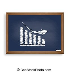 Declining graph sign. White chalk icon on blue school board with