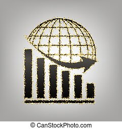Declining graph with earth. Vector. Blackish icon with...