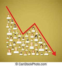 declino, rete, concept., vettore, demography, sociale, ...