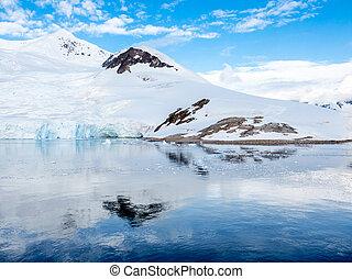 declive, acampamento, barracas, península, neve, arctowski, antártica, coberto, neko, vermelho, porto
