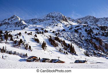 declive esqui, em, alps austrian