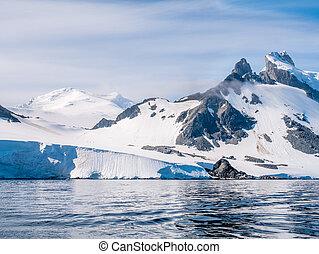 declive, hiking, spigot, pessoas, península, arctowski, antártica, pico, antárctico