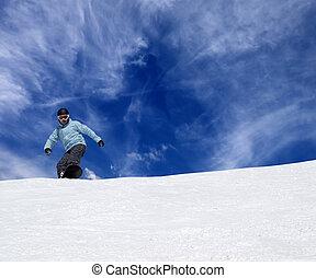 declive, piste, snowboarder
