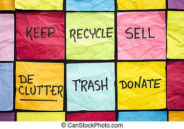 declutter, 개념, 통하고 있는, 끈끈한 주
