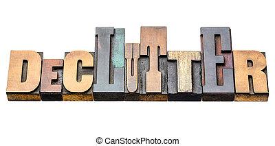 declutter, astratto, legno, parola, tipo