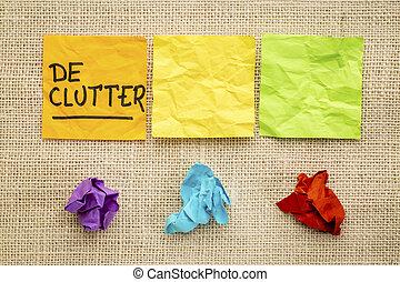 declutter, begreb, på, klæbrige notere