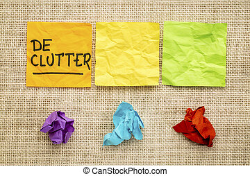 declutter concept on sticky notes