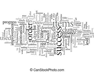 Declutter for Sucess text background wordcloud concept