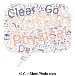 declutter, vida, conceito, texto, wordcloud, fundo, seu