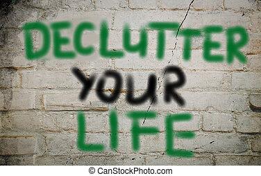 declutter, vita, concetto, tuo