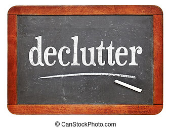 declutter white chalk text on blackboard