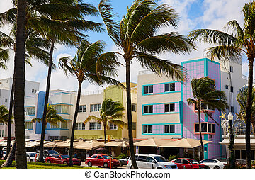 deco, マイアミ, 大通り, 海洋, 芸術, フロリダ, 浜