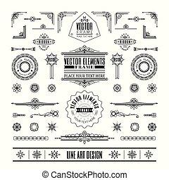 deco, 芸術, 線である, 型, フレーム, デザインを設定しなさい, 薄くなりなさい, コーナー, 線, 要素, レトロ
