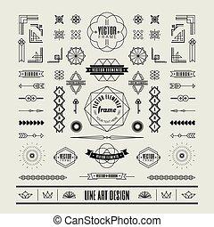 deco, 芸術, 線である, 型, フレーム, デザインを設定しなさい, 薄くなりなさい, コーナー, 線, 要素, ...