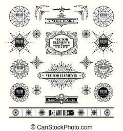 deco, 芸術, 線である, 型, フレーム, 形, デザインを設定しなさい, レトロ, コーナー, 線, バッジ, 幾何学的, 要素