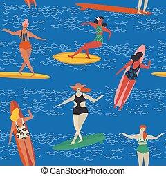 Deco,  art, affiche, Surfer, vecteur, plage
