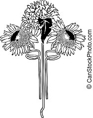 deco, art, sunflower., illustration, fleur, vector.