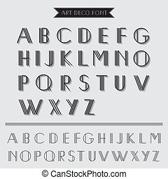 deco, art, vendange, -, typographie, vecteur, police, eps10...