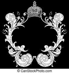 deco, arte, heraldic, pretas, ornate, quad, branca