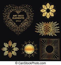 deco, arte, scoppio, vendemmia, -, vettore, disegno, sole, cornici, posto, testo, tuo, elementi