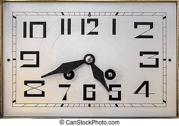 deco, arte, siglo, clockface, temprano, vigésimo