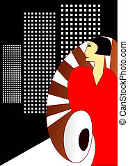 deco arte, stile, manifesto, con, un, elagant, 1930's, donna
