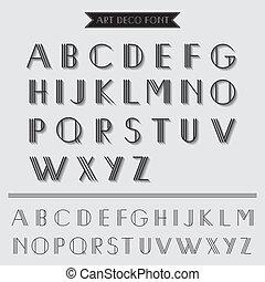 deco arte, tipo, font, vendemmia, tipografia, -, in,...